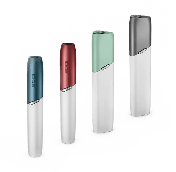 Line up of 4 IQOS 3 DUO and MULTI holders with customised caps